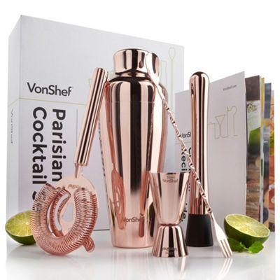 VonShef Parisian Copper Cocktail Shaker Set