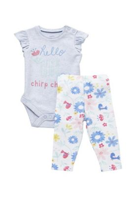 F&F Chirp Chirp Bodysuit and Leggings Set Blue Multi 12-18 months