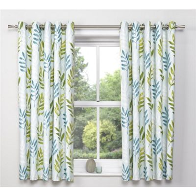 Dreams n Drapes Kew Teal Eyelet Lined Curtains - 66x72 Inches (167x183cm)
