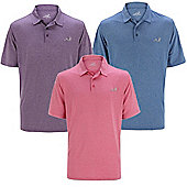 Woodworm Golf Solid Heather Mens Golf Polo Shirts 3 Pack - Multi