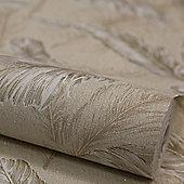 Designer Julien MacDonald Glitter Gilded Feather Cream / Gold Wallpaper 32-946