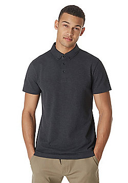 F&F Button Down Collar Textured Short Sleeve Polo Shirt - Grey
