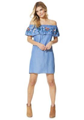 F&F Embroidered Bardot Summer Dress Blue 8