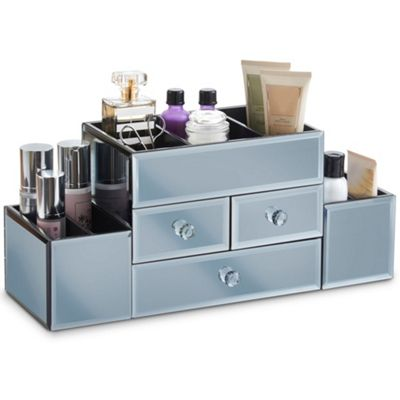 Beautify Large Smokey Grey Mirrored Glass Jewellery Box & Makeup Organiser