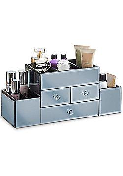 Beautify Large Smokey Grey Mirrored Glass Jewellery Box & Makeup Organiser