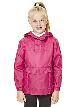F&F School Girls Pack Away Shower Resistant Cagoule - Pink