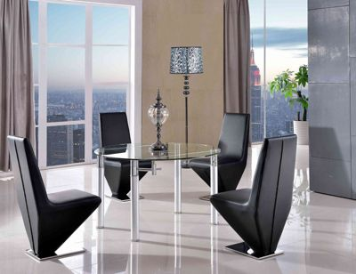 Torino Round Glass Extending 74 - 120 cm Dining Table with 4 Black Rita Chairs