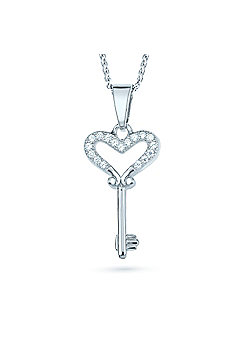 REAL Effect Rhodium Plated Sterling Silver White Cubic Zirconia key heart Charm Pendant - 16/18 inch