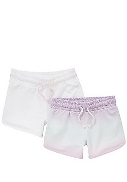 F&F 2 Pack of Tie Dye and Plain Shorts - Multi