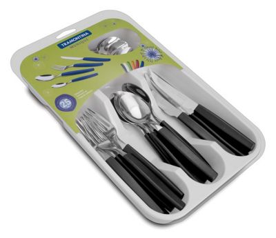 Tramontina Munique Tableware Cutlery Set 24 Piece with Tray Black