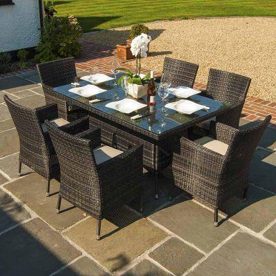 Maze Rattan - Baby LA 6 Seat Dining Set - 1.5m x 1m - Brown