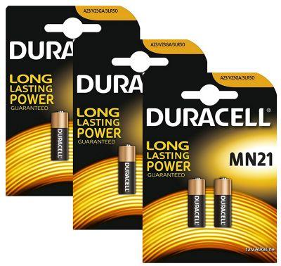 6 x Duracell Alkaline MN21 A23 12V Battery 23A LRV08 K23A E23A Batteries