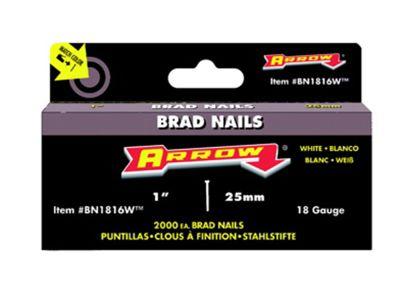 Arrow BN1816 Brad Nails 25mm White Head Pack 2000