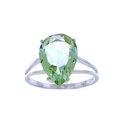 QP Jewellers 5.0ct Green Amethyst Pear Drop Ring in 14K White Gold - Size F