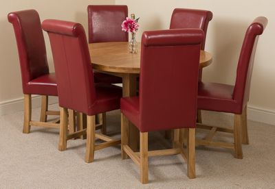 Edmonton Solid Oak Oval Extending 110 - 140 cm Dining Table with 6 Dark Red Washington Leather Dining Chairs