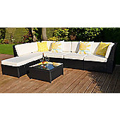 Barcelona Garden Rattan Corner Sofa Set with Table Brown