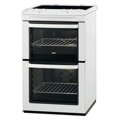 Zanussi ZCV551MWC 55cm White Electric Cooker Double Oven