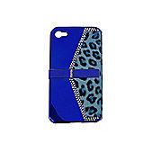 Blue Leopard Print Handbag Case for Apple iPhone 4/4S