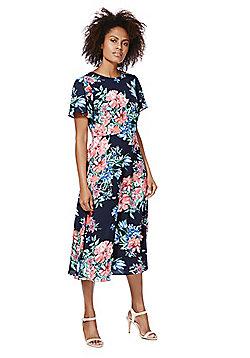 F&F Floral Crepe Midi Dress - Multi