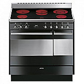 Smeg SUK92CBL9 Double Oven Concert 90cm Electric Range Cooker in Black