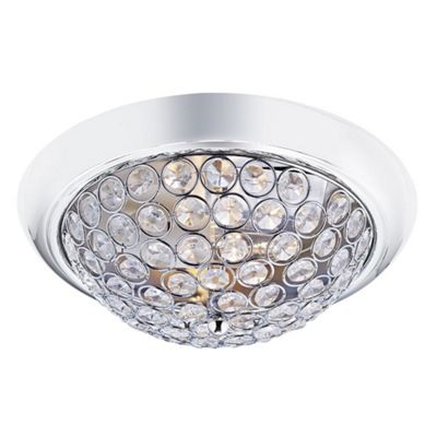 Modern Chrome and Crystal Beaded IP44 Bathroom Ceiling Light
