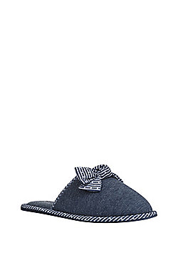 F&F Bow Detail Mule Slippers - Navy