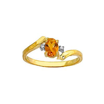 QP Jewellers Diamond & Citrine Embrace Ring in 14K Gold - Size R 1/2