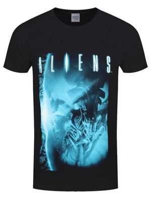 Alien Blue Men's Black T-shirt