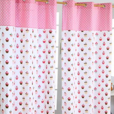 Homescapes Cupcakes Ready Made Eyelet Curtain Pair, 117 x 137 cm Drop