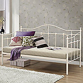 Happy Beds Torino Metal Day Bed with Orthopaedic Mattress - Cream - 3ft Single