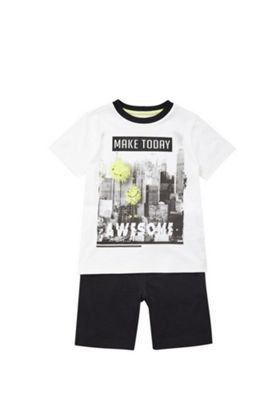 F&F Monster City Skyline T-Shirt and Shorts Set White/Black 12-18 months