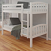 Happy Beds American White Solid Pine Wooden Bunk Bed 2 Orthopaedic Mattresses 3ft Single