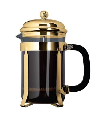 Cafe Ole 1000ml 8-Cup Classic Coffee Maker Glass Cafetiere Gold Finish