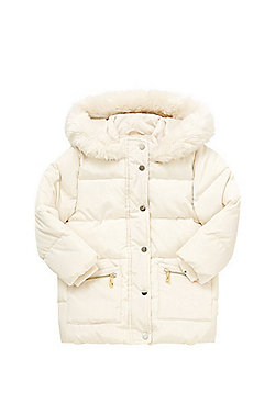 F&F Faux Fur Trim Puffer Jacket - Cream