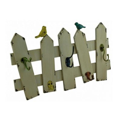 Birds on the Fence Wall Hooks