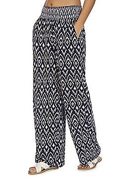 F&F Ikat Print Wide Leg Beach Trousers - Navy