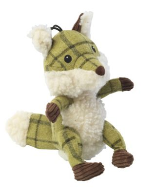 Green Tweed Fox Dog Toy