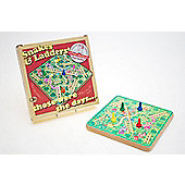 Prof Warbles Retro Wooden Snakes & Ladders