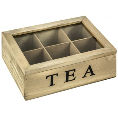 Tea- Solid Wood Tea Storage Box With 6 Compartments - Brown / Black