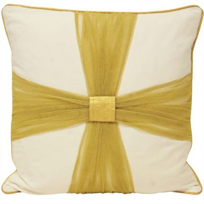 Riva Home Christmas Tide Bow Gold Cushion Cover - 45x45cm