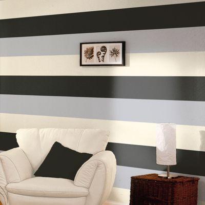 Stripe Wallpaper - Black / Silver / Cream - E40909