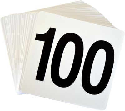 Argon Tableware Table Number Plastic Card Set 1-100. Double sided