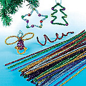 Tinsel Pipe Cleaners for Children for Christmas Crafts (Pack of 72)