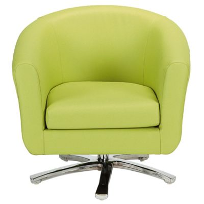Swivel Leather Effect Tub Chair Lime Green