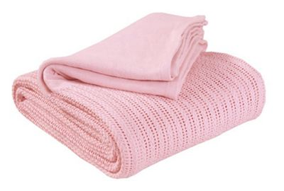 EHC Hand Woven Adult Cellular Blanket, Pink