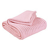 EHC Hand Woven Adult Cellular Blanket, Pink