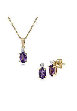 Gemondo 9ct Yellow Gold Amethyst & Diamond Oval Stud Earring & 45cm Necklace Set