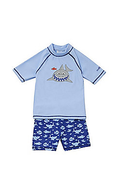 Dudeskin Shark Print UPF50+ Rash Top and Shorts Set - Blue