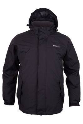 Mountain Warehouse Storm Mens 3 in 1 Breathable Taped Seams Fleece Adjustable