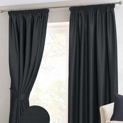 Homescapes Black Herringbone Chevron Blackout Curtains Pair Pencil Pleat, 66x72